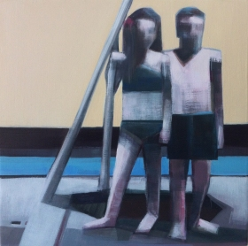 "Artist: Shilo Ratner, Title: The Couple; 12""x12""; Oil Paint on Panel"