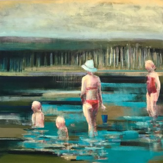 """Blue Bucket"", 36in x 36in, Oil Paint on Canvas"