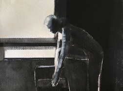 Shilo Ratner_By Window_Acrylic and Ink on Paper_9inx12in