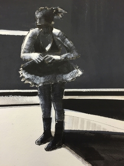 Shilo Ratner_Waiting to Dance_Acrylic and Ink on Paper_12inx9in