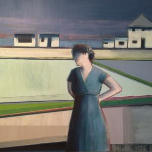 "Artist Shilo Ratner, Five Houses, 36"" x 36"", Oil Paint on Canvas"