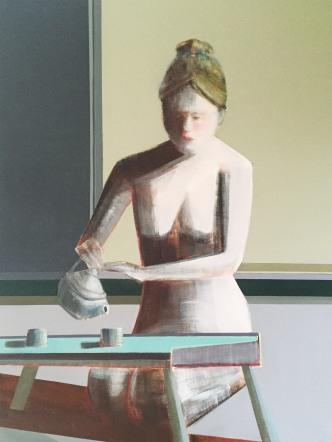 """Mindfulness of Tea, 48 x 36"""", Oil on Canvas"""