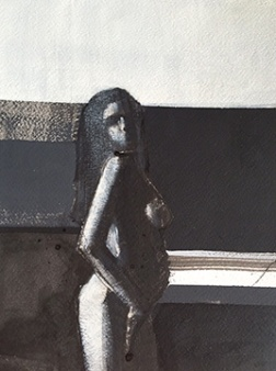 """Artist: Shilo Ratner, """"Expecting"""", Acrylic and Ink on Paper, 9""""x12"""""""