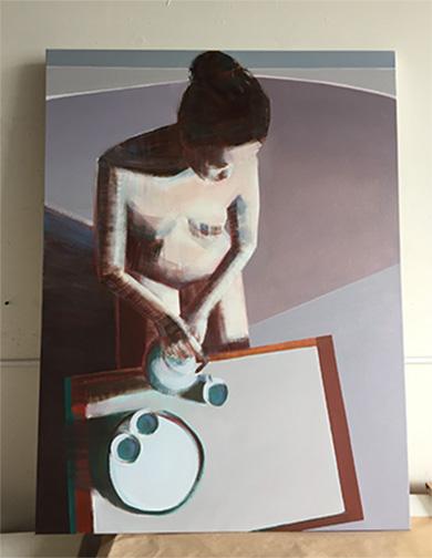 Artist Shilo Ratner,Comfort in Tea, 48inx36in, oil on canvas