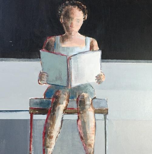 """""""Figure Sitting"""", 8 x 8"""", Acrylic on Panel"""