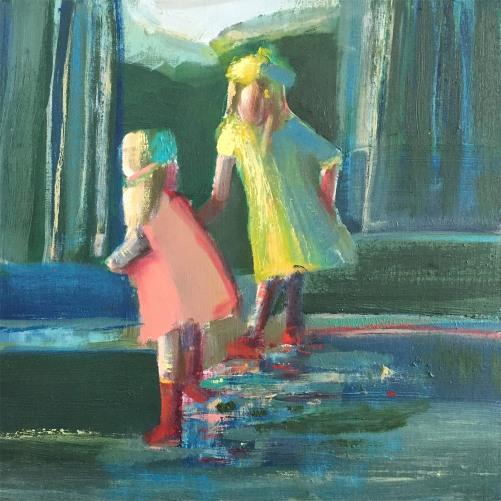 """""""Splashing In Puddles"""", 10x 10"""" Oil on Panel"""