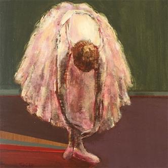 "Dancer Stretching, 8 x 8"", Acrylic on Panel"