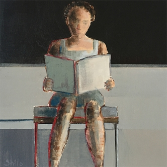 "Woman Reading, 8x 8"", Acrylic on Panel"