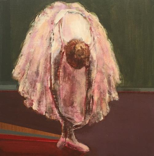 """Dancer Stretching"", 8 x 8"", acrylic on panel"
