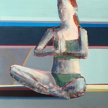 "Meditate, 8x 8"", acrylic on panel"